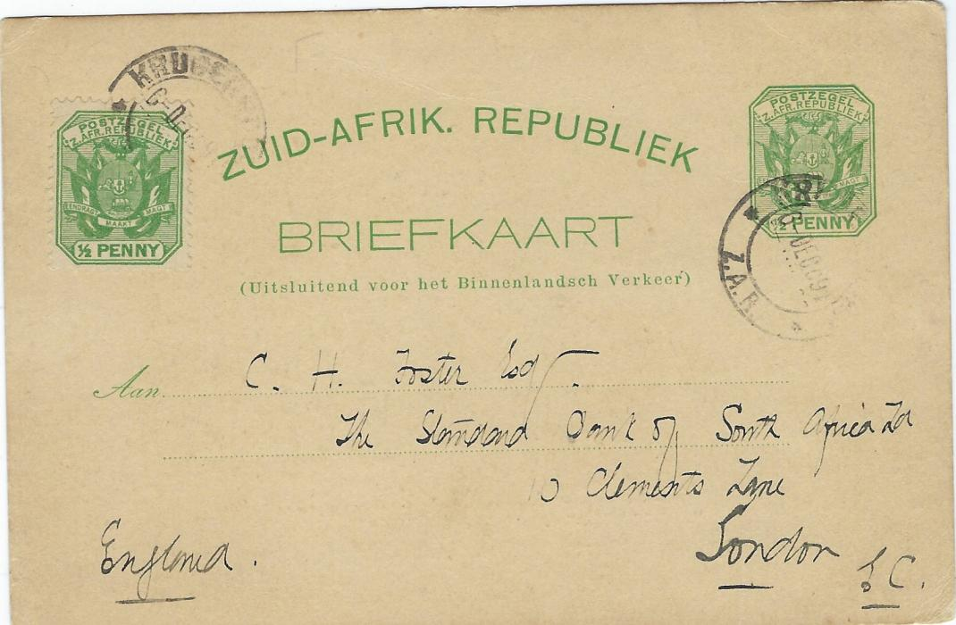 Transvaal (Picture Postal Stationery) 1897 (6 Dec) ½ Penny green card with additional ½d. added at left with general view of Johannesburg, entitled  'Greetings from Johannesburg' and in addition 'Wishing you a Merry Christmas and a Happy New Year'. This is the EARLIEST KNOWN usage of this card with the Christmas message. Used to London, good condition.
