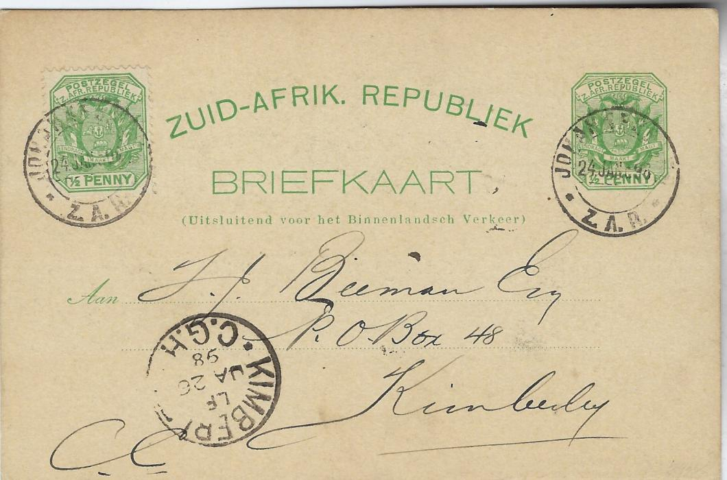 Transvaal (Picture Postal Stationery) 1898 (24.1.) ½ Penny green card with additional ½d. at left entitled  'Greetings from Johannesburg' with a general view and at left artist peace image entitled Concordia Boer & Briton, used to Kimberley; good condition.