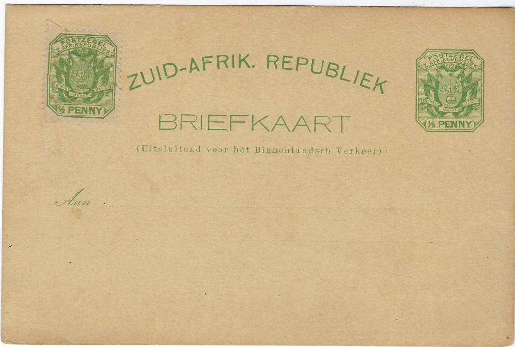 Transvaal (Picture Postal Stationery) Late 1890s � Penny with further �d. at left, entitled Greetings from Johannesburg  bearing four  images Dormfontein, Commissioner Street, Hospital and Mine, good unused