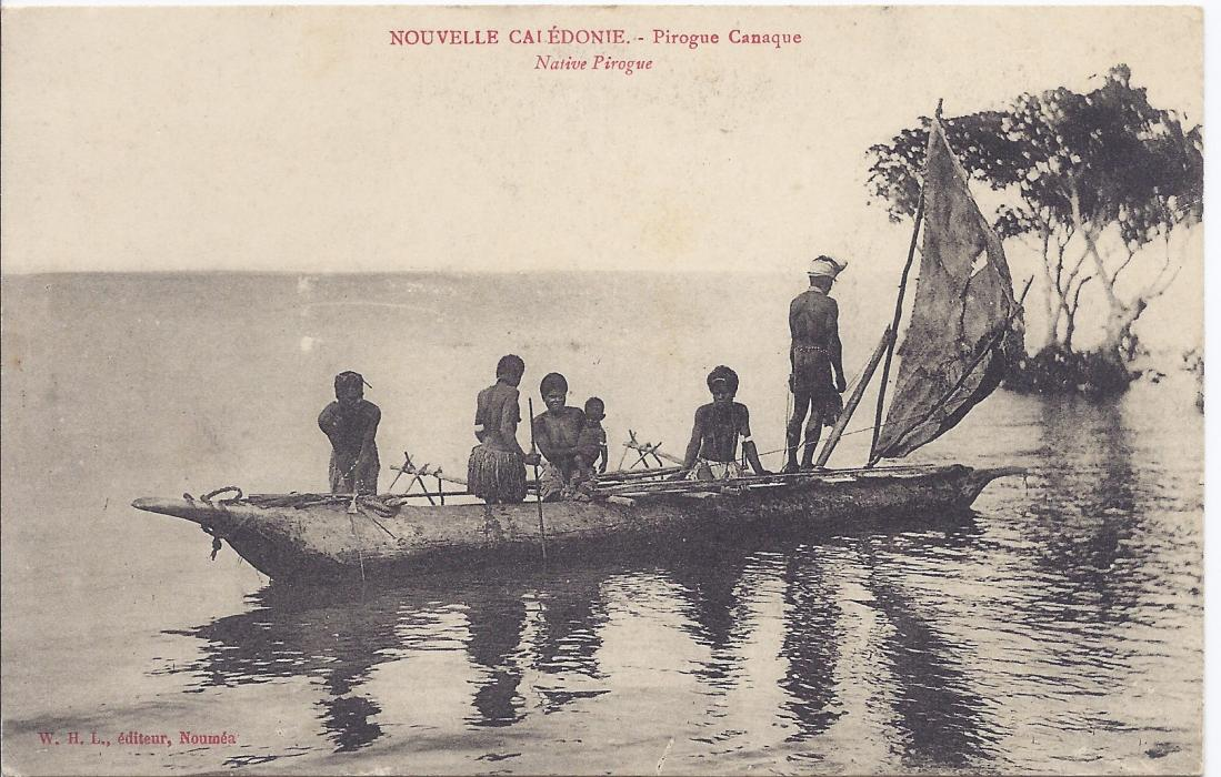 New Caledonia early 1900s card entitled Pirogue Canaque good unused