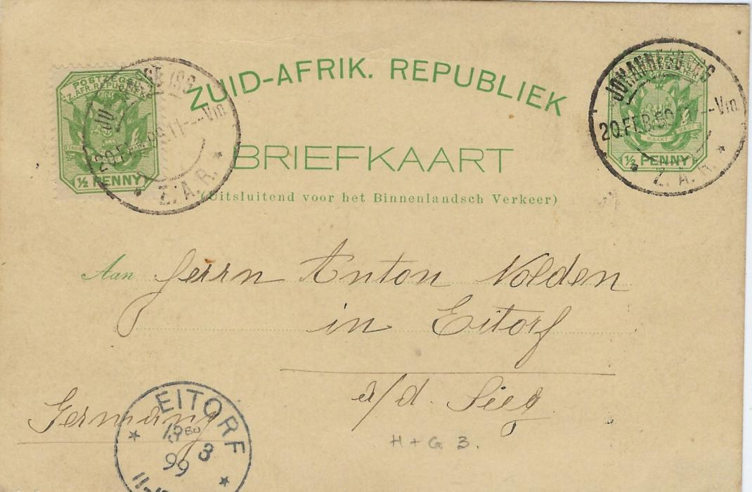 Transvaal (Picture Postal Stationery) Late 1890s � Penny with further �d. at left, entitled Greetings from Johannesburg  bearing four  images Dormfontein, Commissioner Street, Hospital and Mine, used to Eitorf, Germany; good condition.