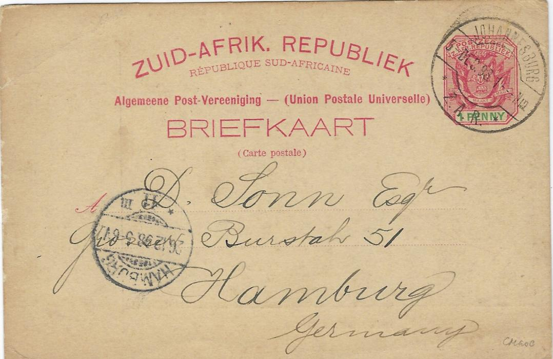 Transvaal (Picture Postal Stationery) 1898 1 Penny carmine and green card entitled Greetings from Transvaal with black image of President Kruger, used to Germany.