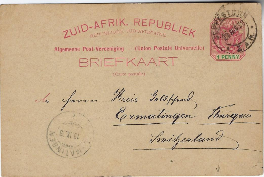 Transvaal (Picture Postal Stationery) 1898 1 Penny carmine and green card entitled Greetings from Transvaal with bluish black image of President Kruger, used to Switzerland.