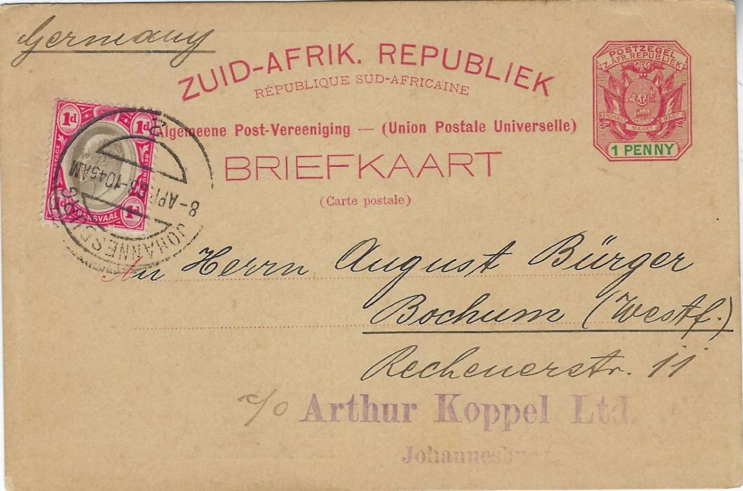 Transvaal (Picture Postal Stationery) 1898 1 Penny carmine and green card entitled Gruss aus Johannesburg  with image of donkeys pulling carts on rail lines, used to Bochum, Germany