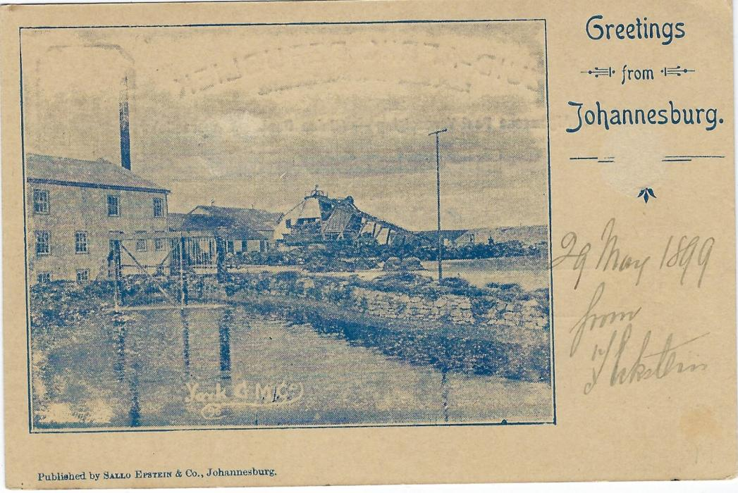 Transvaal (Picture Postal Stationery) 1899 (29 Mei) 1 Penny carmine and green card entitled Greetings from Johannesburg  with image of York G M Co, Gold Mine, used to Montreal, Canada. This is the earliest recorded usage of this postcard view.
