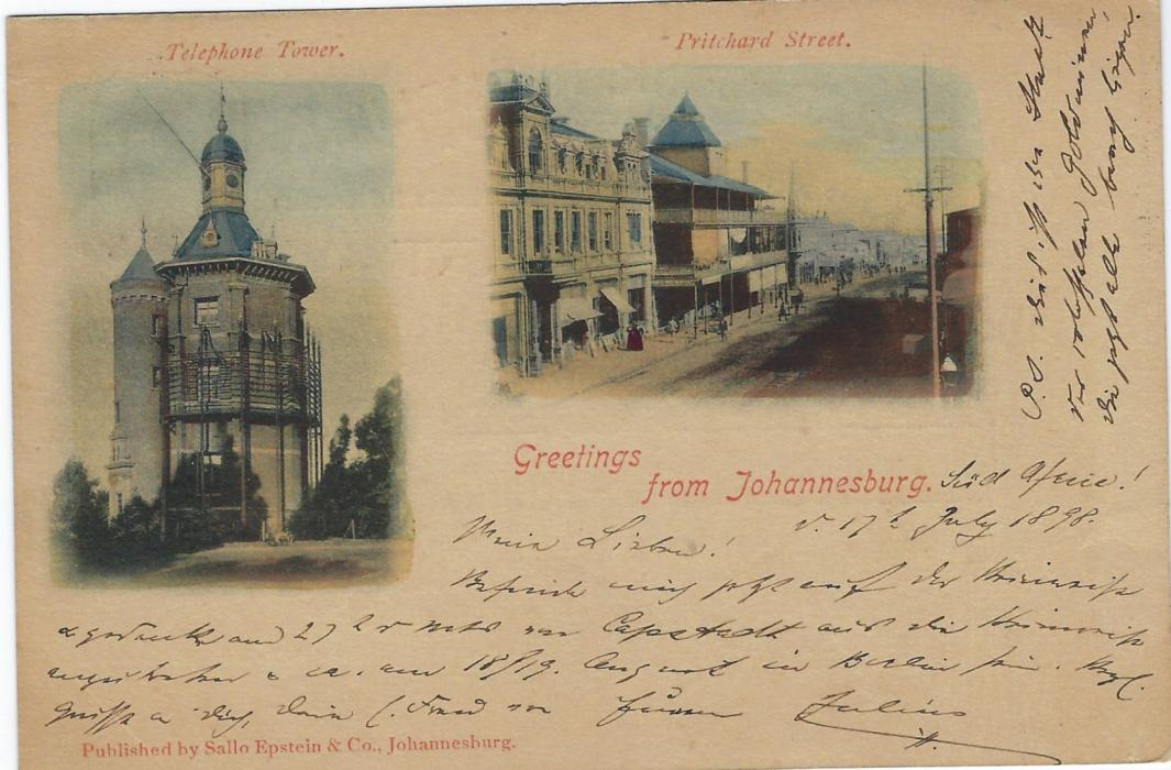 Transvaal (Picture Postal Stationery) 1898 1 Penny carmine and green card entitled Greetings from Johannesburg with colour images of Telephone Tower and Pritchard Street, used to Berlin; some overall paper toning.