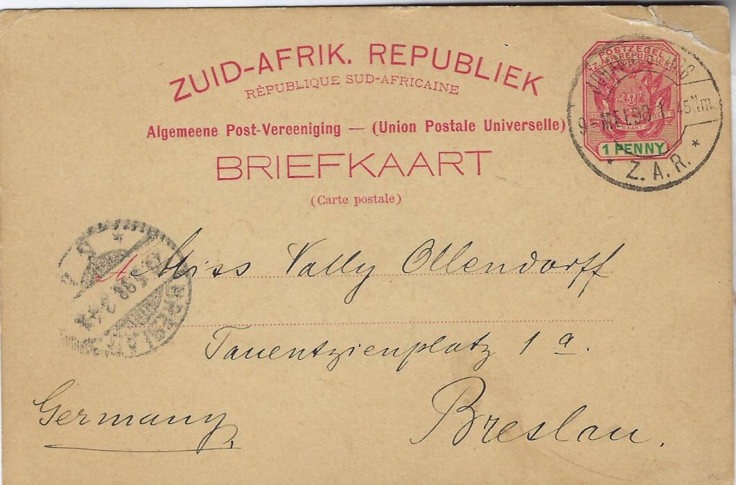 Transvaal (Picture Postal Stationery) 1898 (6 Mei)  1 Penny carmine and green card entitled Greetings from Johannesburg with colour images of Telephone Tower and Pritchard Street, used to Breslau; top corner fault. Written on the 6th, the earliest known usage though cancel shows 9th or is this an inverted '6'.