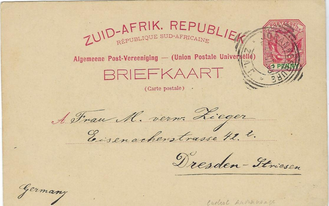 Transvaal (Picture Postal Stationery) 1898 (24 Oct)  1 Penny carmine and green card entitled Greetings from South Africa with black-green image of Zulu Warriors used to Dresden. The earliest known usage, good condition.