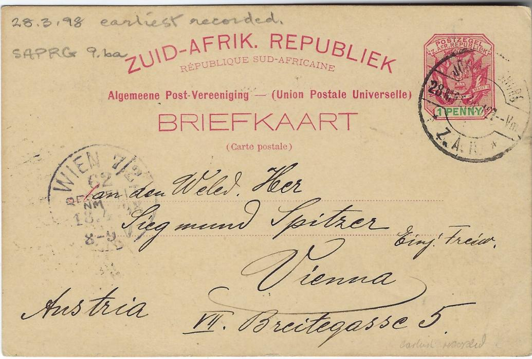 Transvaal (Picture Postal Stationery) 1898 (28 Mrt)  1 Penny carmine and green card with black-green image of Zulu Warriors used to Vienna. The earliest known usage, good condition.
