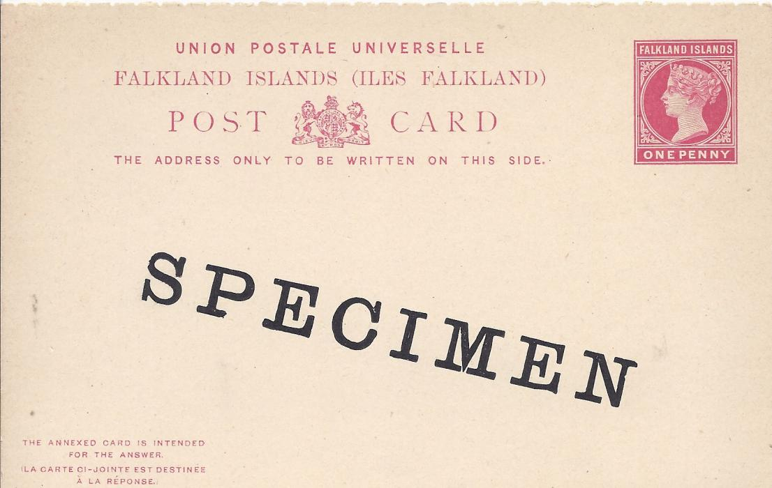 Falkland Islands 1892 1d. postal stationery reply card with each section overprinted SPECIMEN; fine condition