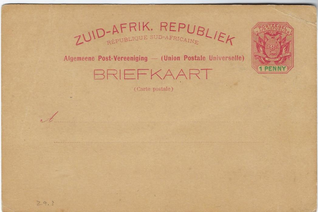 Transvaal (Picture Postal Stationery) 1898 (28 Mrt)  1 Penny carmine and green card entitled Greetings from Pretoria with image of Hey's Park, hand coloured, unused with corner crease and light overall paper toning.
