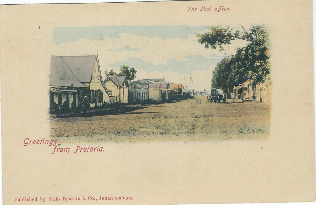 Transvaal (Picture Postal Stationery) Late 1890s 1 Penny carmine and green card entitled Greetings from Pretoria with image The Post Office. This view is in fact, shown on another postcard as being not of Pretoria, but is of the Royal Hotel in Church Street, Potchefstroom. Fine unused