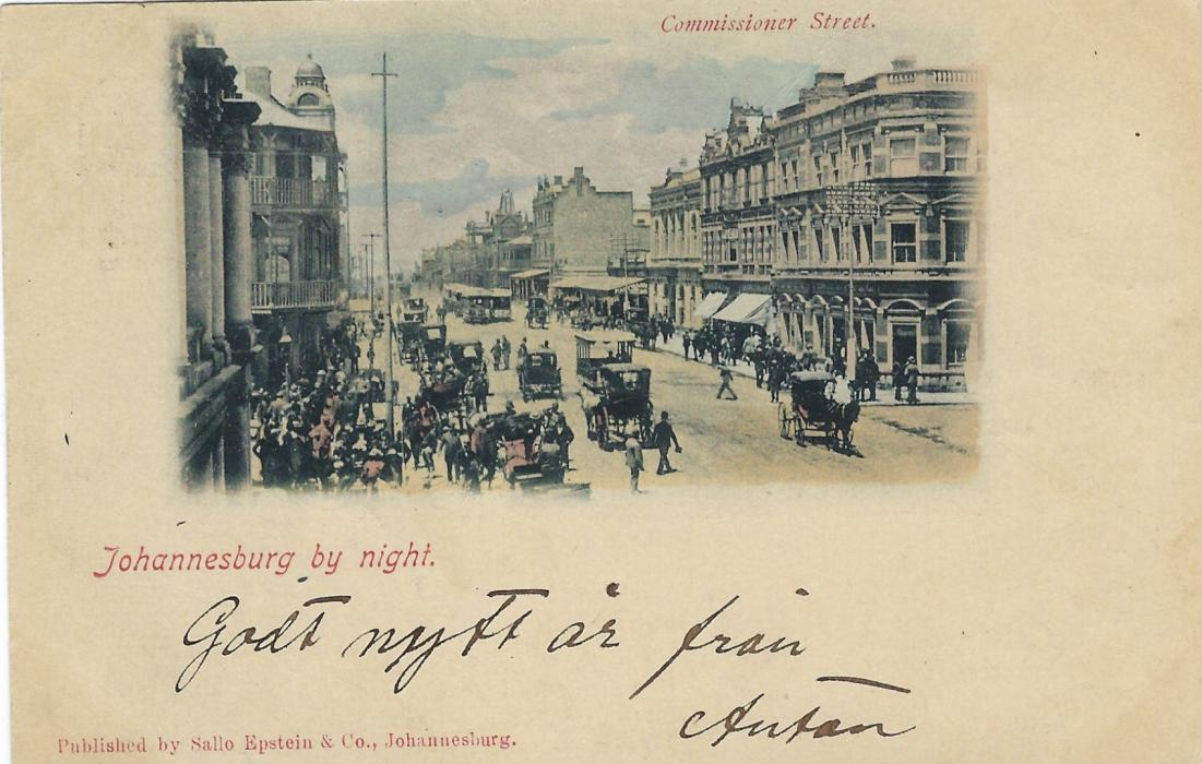 Transvaal (Picture Postal Stationery) 1898 (4 Dec)  1 Penny carmine and green card entitled Johannesburg  by night with image of Commissioner Street (in the daytime?), good used Germiston to Goteborg Sweden.