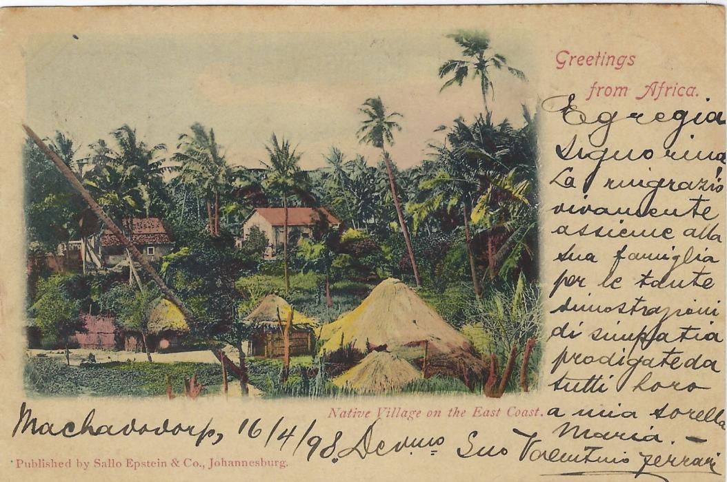 Transvaal (Picture Postal Stationery) 1898 (16 Apr)  1 Penny carmine and green card entitled Greetings from Africa  with image of Native Village on the East Coast, at least partly hand-painted, used from Machadcoorp.