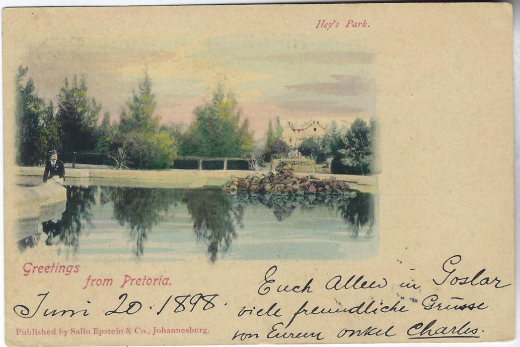 Transvaal (Picture Postal Stationery) 1898 (20 Jun) 1 Penny carmine and green card entitled Greeting from Pretoria with image of Hey's Park, used from Modderfontein to Germany; good used