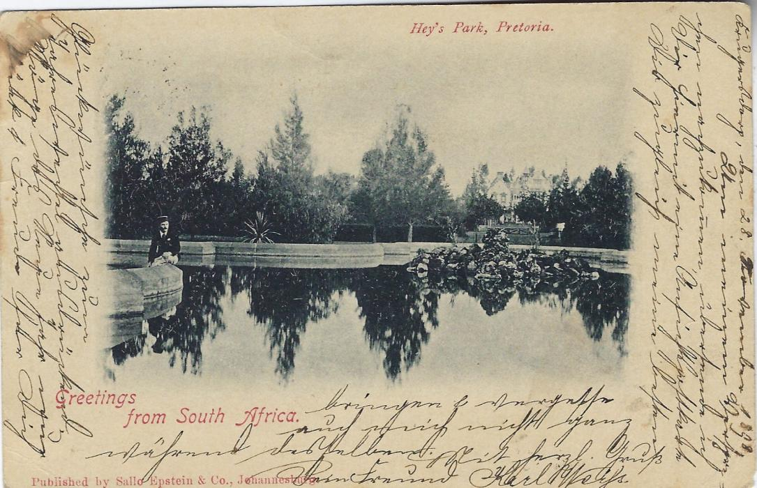 Transvaal (Picture Postal Stationery) 1898 (5 Dec)  1 Penny carmine and green card entitled Greeting from South Africa  with image of Hey's Park, Pretoria,  used from Krugersdorp to Germany