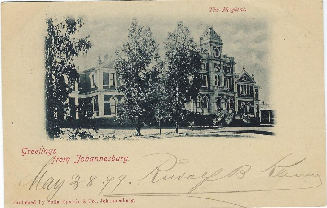 Transvaal (Picture Postal Stationery) 1899 (29 Mei)  1 Penny carmine and green card entitled Greetings from Johannesburg  with image of The Hospital, fine used to Austria.
