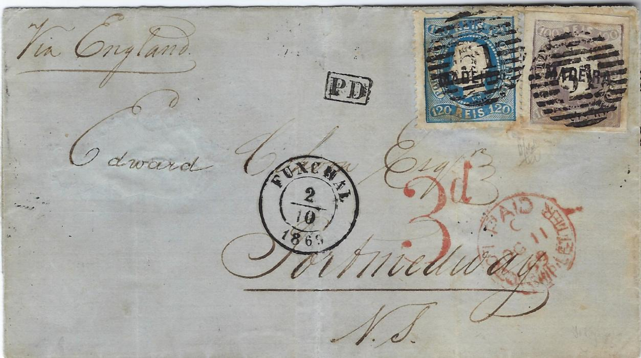 "Portugal (Madeira) 1869 (2/10) fragile outer letter sheet to Nova Scotia, franked 1868 100r imperf (four good margins) and 1868-70 perforated 120r cancelled '51' barred numerals, Funchal two-ring cds at centre with framed PD, endorsed ""Via England"" , red Paid London Ship Letter transit and '3d' accountancy handstamp. Some reinforcements and repairs to  cover."
