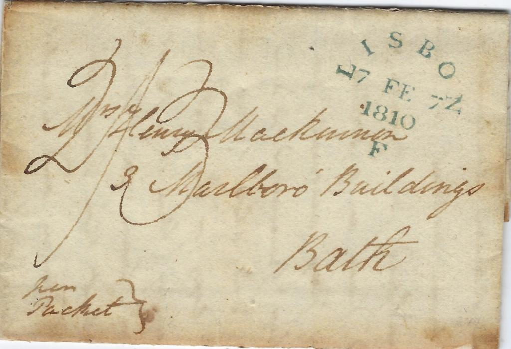 "Great Britain 1810 entire from Pintel, Portugal to Bath, rated ""2/3"" and showing a particularly fine blue-green LISBON/ 7 FE 7/1810/ F  applied on Falmouth Packet."