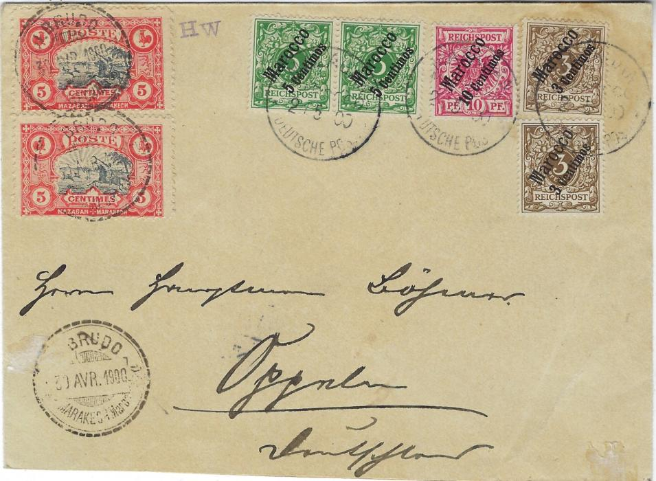 Morocco (German Post Offices) 1900 (30 Avr) cover to Oppeln, Germany franked Local Post 'Mazagan – Marakech' tied J. Brudo Marakech Maroc date stamps, additionally franked German Post Offices  3c. on 3pf. (2), 5c. on 5pf. (2) and 10c. on 10pf. tied Mazagan Deutsche Post cds, arrival backstamp; fine condition.