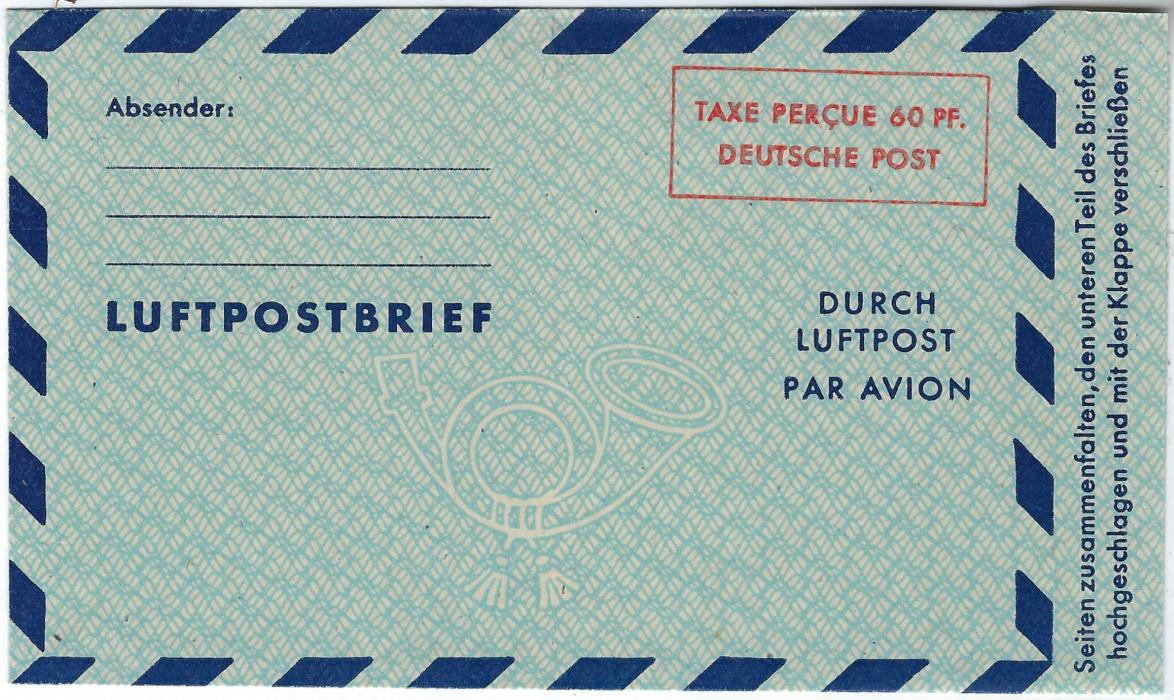 Germany (American and British Zones) 1949 60pf airmail letter sheet showing spelling variety 'hochgeschlagen' instead of 'hochschlagen', very fine unused with normal for comparison. (Michel LP 3I)