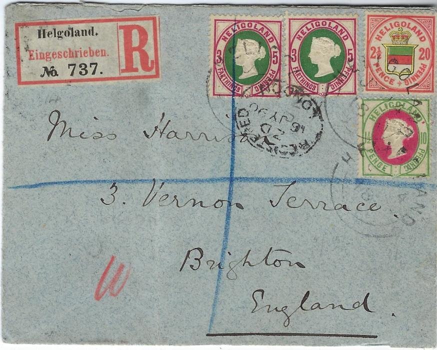 Heligoland 1890 (JY 6) registered cover to Brighton, England franked two  5pf (¾d.), 10pf (1½d.) and 20pf (2½d.) tied by three Helgoland date stamps, Registered London transit and arrival backstamp; vertical filing crease at left clear of adhesives, attractive cover used about a month before end of British administration.