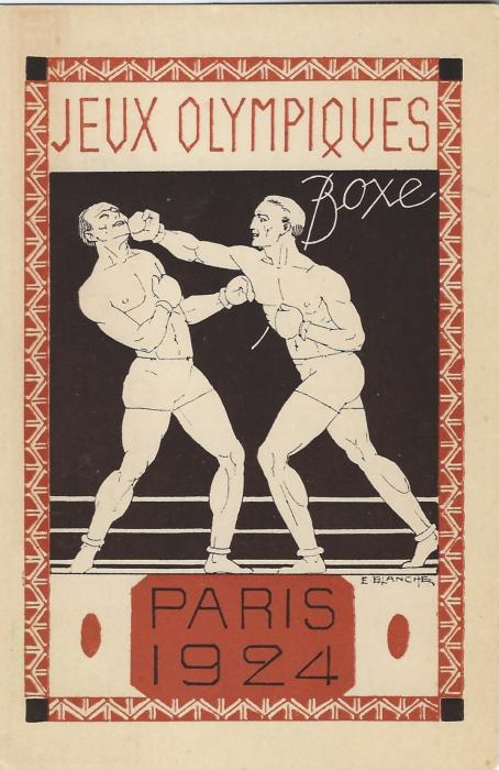 France (Olympics) 1924 Paris Olympics 15c. Type Pasteur# stationery card with black and brown Boxing image; good unused