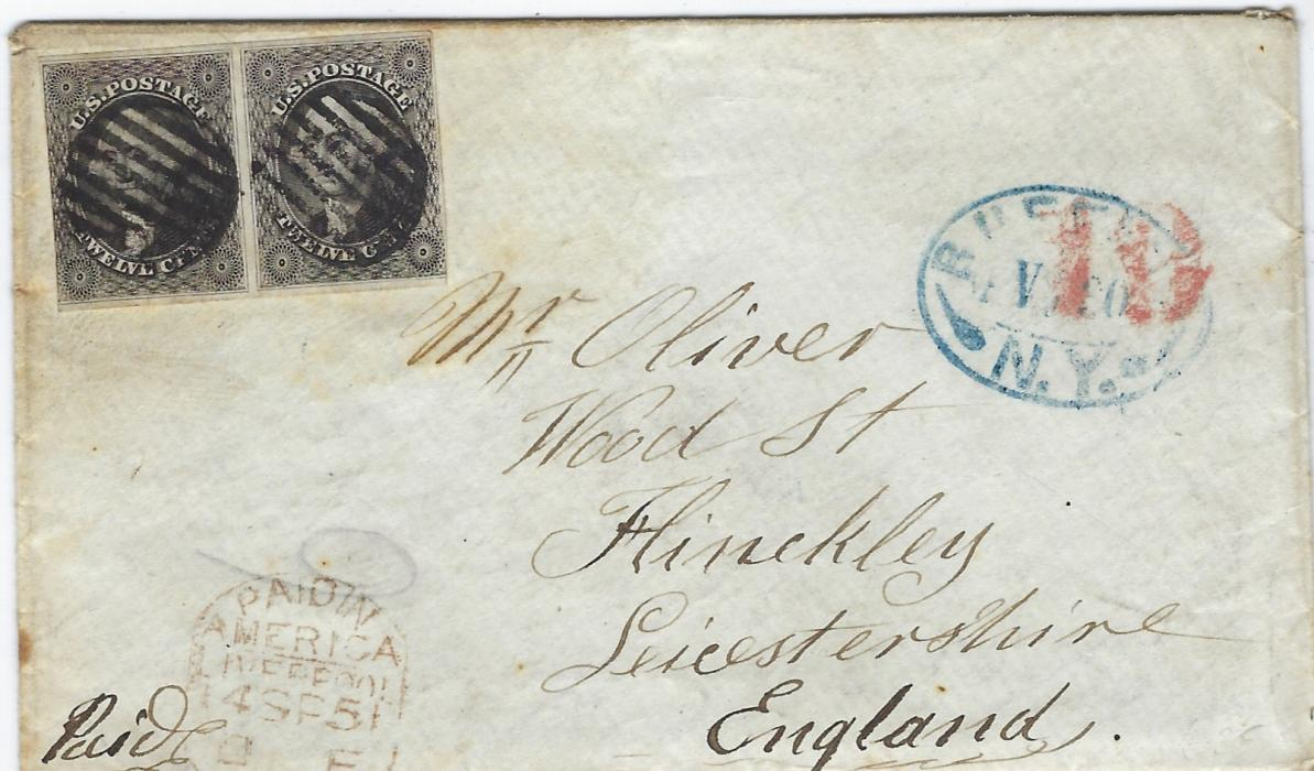 United States 1851 cover to Hinckley, England, with contents datelined 29th August bearing 1851 12c. Washington pair with margins touched at sides, cancelled two grids of bars, Buffalo N.Y. handstamp at right, overstruck by '19' accountancy handstamp, oxidised Paid In/ America/ Liverpool bottom left, arrival backstamp.