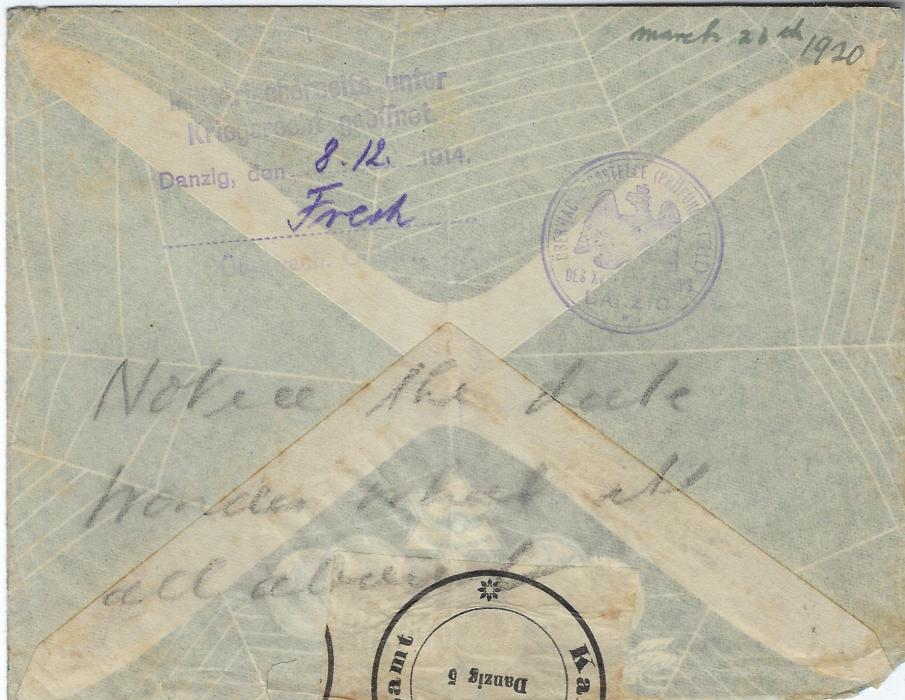 "Germany (Danzig Intercepted Mail) 1914 'spider and web' illustrated envelope from Russia to London, intercepted by authorities in Danzig with three-line violet handstamp dated 8.12.1914 and circular cachet applied, sealing tape at top, manuscript ""march 23rd 1920"" arrival date. Envelope opened-out for display."