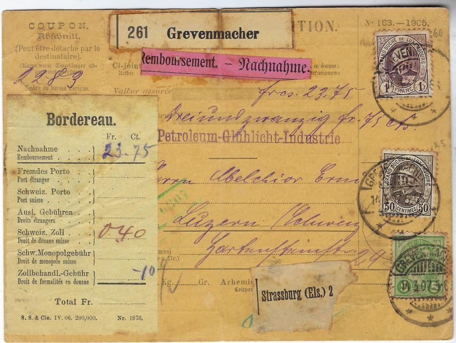 Luxembourg 1907 (14.3.) insured parcel card to Switzerland for 23.75fr. bearing mixed issue franking 1891-93 50c. and 1fr. together with 1895 5c. tied Grevenmacher cds; central vertical crease, a few pinholes clear of stamps and some toning.