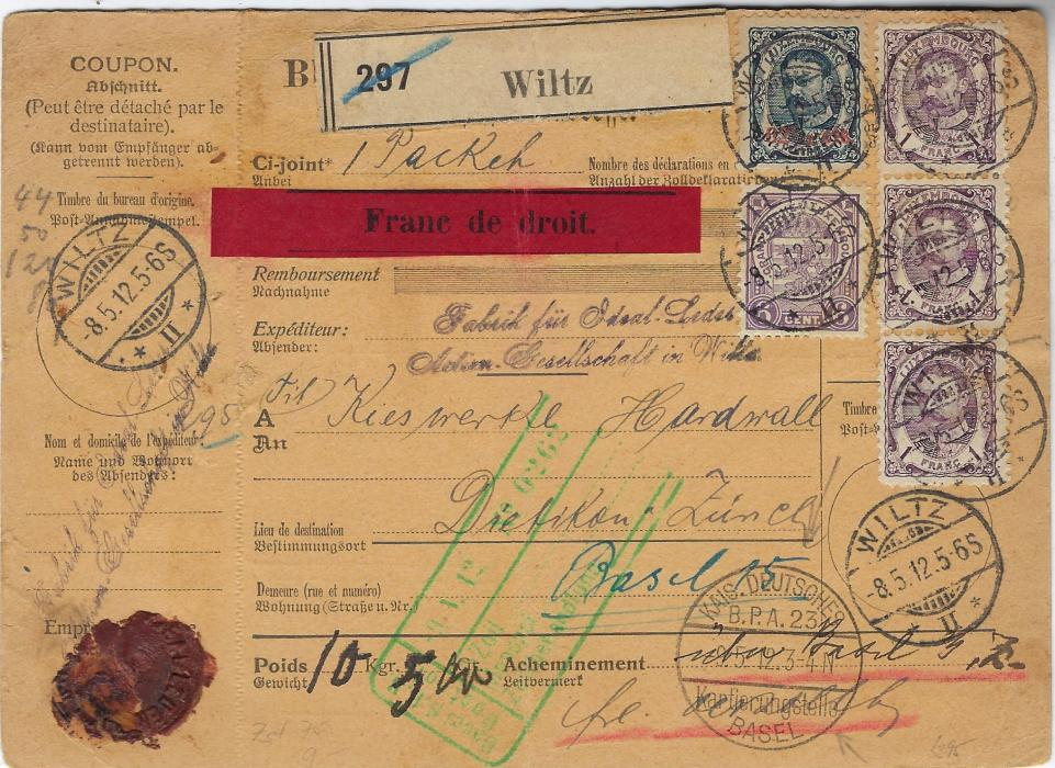 Luxembourg 1912 (8.5.) parcel card to Switzerland with red label �Franc de droit� (Free of Duty)  franked 1906-26 6c. violet, 1f. violet (3) and 1912-15 62�c. on 87�c. tied Wiltz  cds; central vertical crease, a few pinholes clear of stamps.