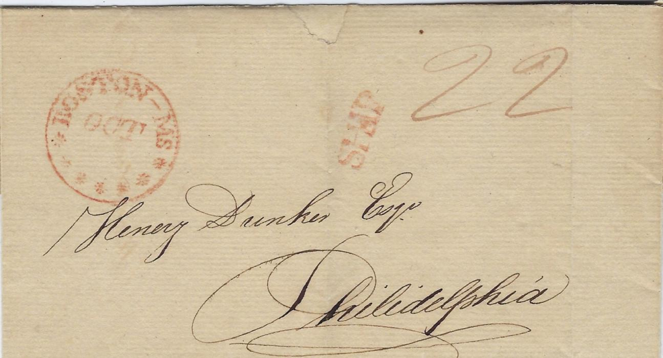 "British Honduras 1809 (28 July) outer letter sheet datelined on backflap, to Philadelphia  with Boston – Ms handstamp and straight-line SHIP, ""22"" manuscript rating; two vertical creases, clean condition."