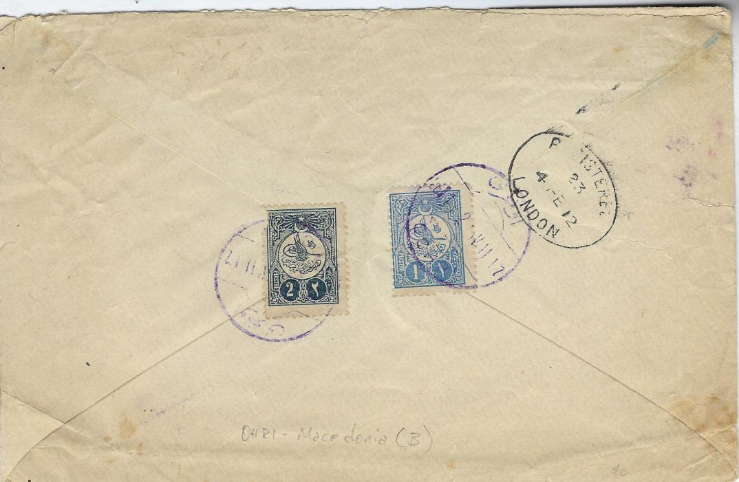 Ottoman Empire (Macedonia) 1912 AR registered cover to London franked on reverse 1pi. and damaged 2pi. tied violet bilingual Ochri date stamps, London arrival alongside; scarce AR cover.