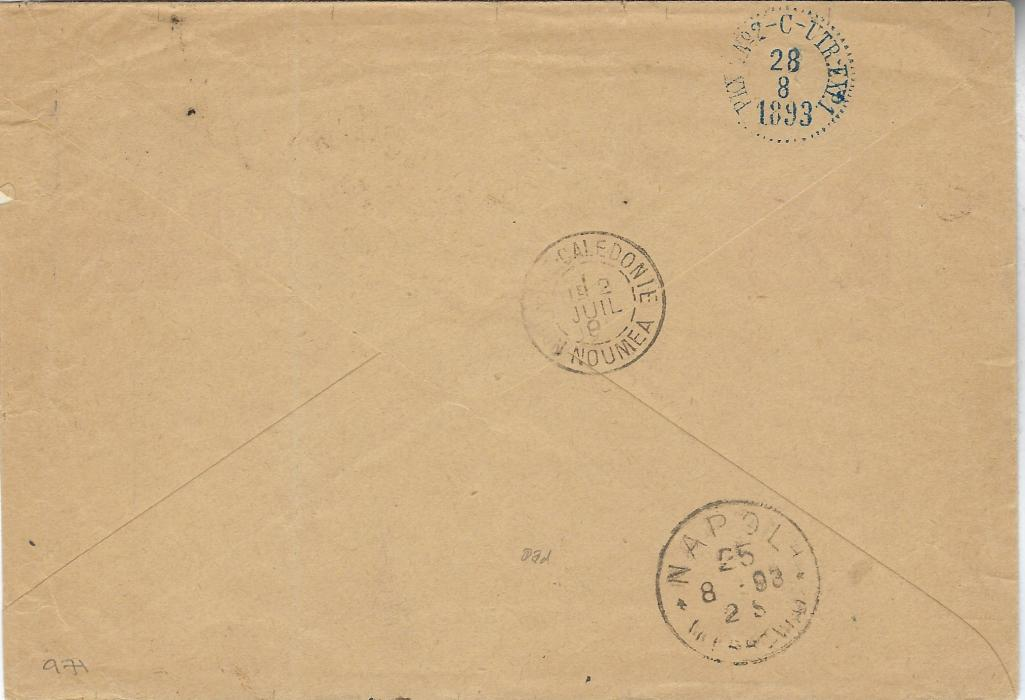 New Caledonia 1893 (28 Juin) registered cover to Sandarna, Sweden bearing mixed issue franking 1892 10c. and 15c. with diagonal overprints and 1892 Group Type 10c. and 15c. tied by two Nouvelle Caledonie Moindou (showing inverte month in cancel), reverse with Noumea transit and Napoli transit and Swedish cancel at top.