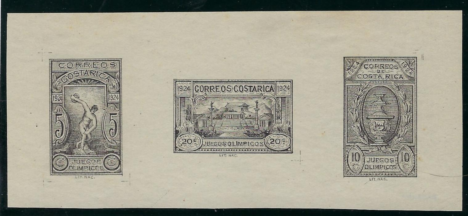 Costa Rica 1924 Central  American Olympic Games  black collective proof of all three values on plain ungummed paper. Fine and scarce.