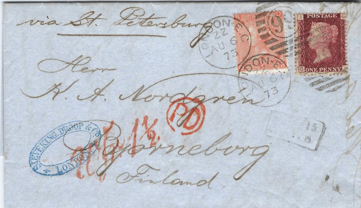 Great Britain 1873 (AU 6) entire to Bjorneborg, Finland bearing 1858-79 1d., plate 157, GI together with 1865-73 4d., plate 13, OB, tied by two London ZZ '99' numeral duplex, endorsed to travel via St Petersburg whose transit appears on reverse, red circular-framed PD and Wfr 1½ accountancy, framed Finnish ANK handstamp at right; good clean condition.