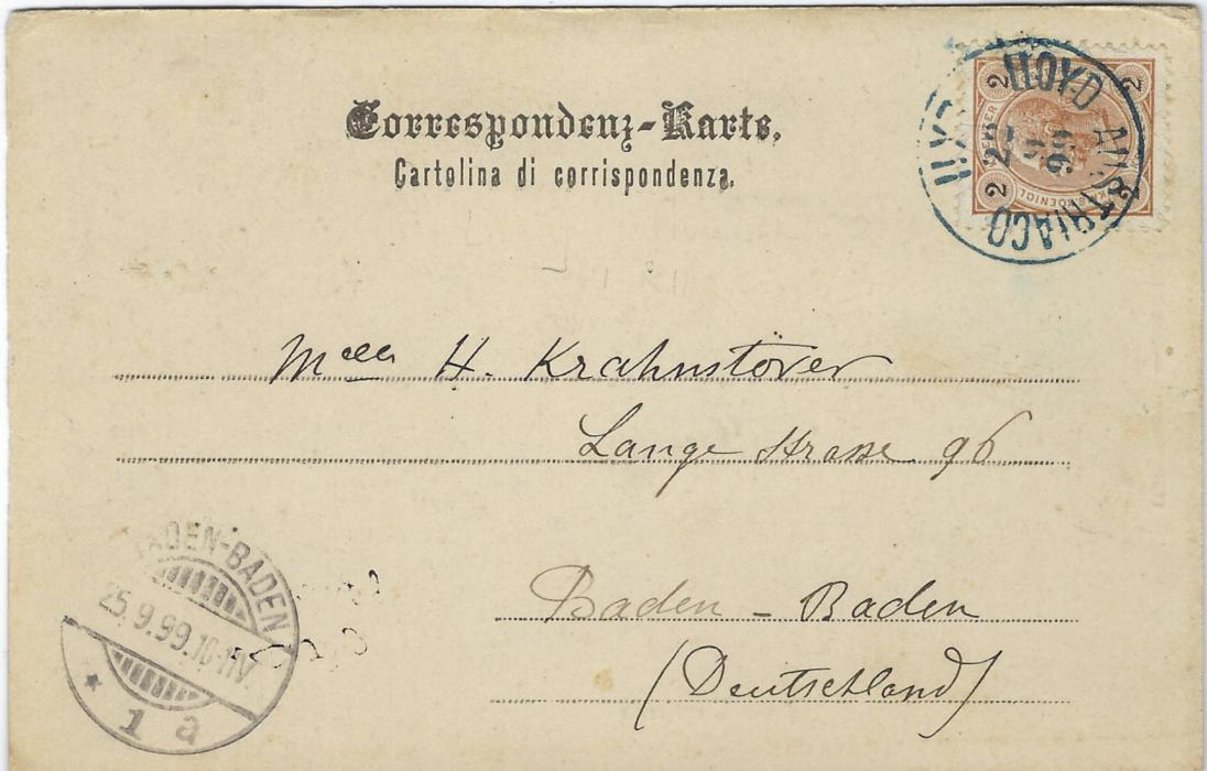 Austria (Maritime) 1899 (22.9) Zara picture postcard to Baden-Baden franked 2k. tied by good strike of Lloyd Austriaco LXII, the date slugs inverted, arrival cds bottom left. Good condition.