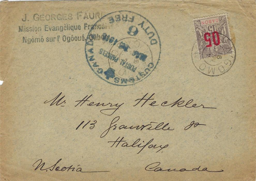 Gabon 1916 (4 Janv) unsealed printed matter rate envelope from a French Evangelical Missionary to Halifax, Nova Scotia bearing single franking  1912 05 on 15c. tied N'Gomo cds. Canadian Customs Duty Free handstamp. The cancel shows both month and year slugs inverted.