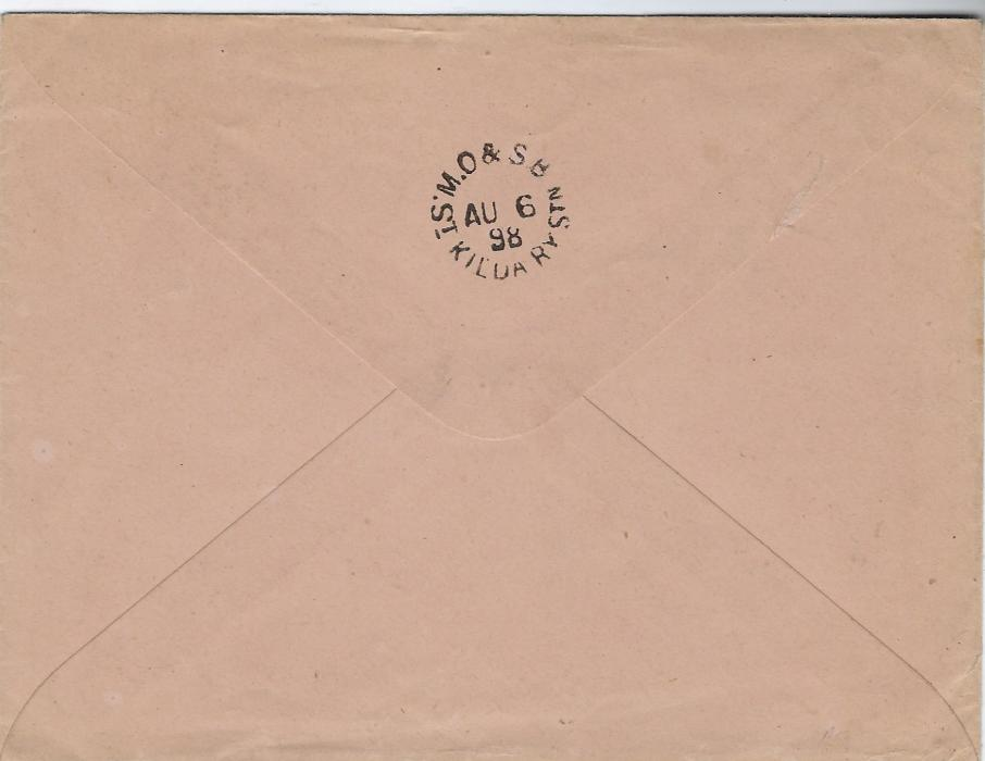 French Oceanic Settlements 1898 (15 Juil)  25c. postal stationery envelope, 146 x 112mm, used to Melbourne, Australia tied double ring Papeete Taiti cds with another clear cds alongside, reverse with fine strike M.O. & S.B St. Kilda Ry Stn of AU 6.
