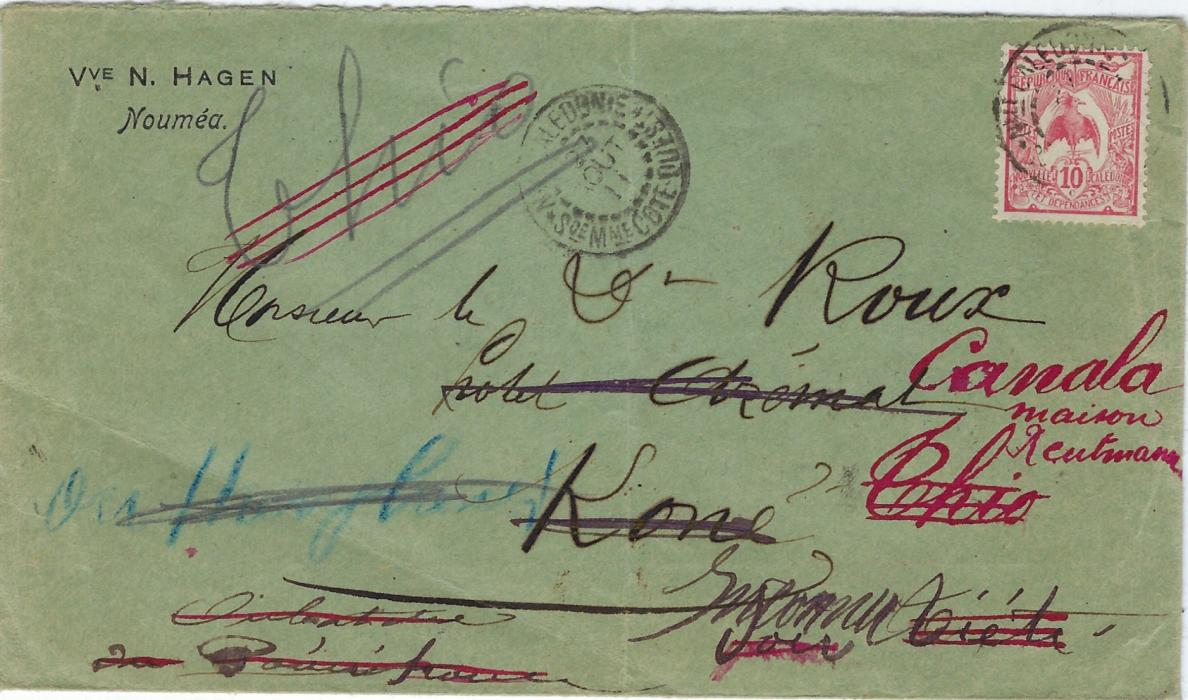 New Caledonia 1911 (27 Aout) local 10c. cover from Noumea to Kone, redirected with eighteen cancels on reverse with dates to 16 Oct, some repeating themselves like Pounerihouen of 10/9 and 16/10; central vertical filing crease.
