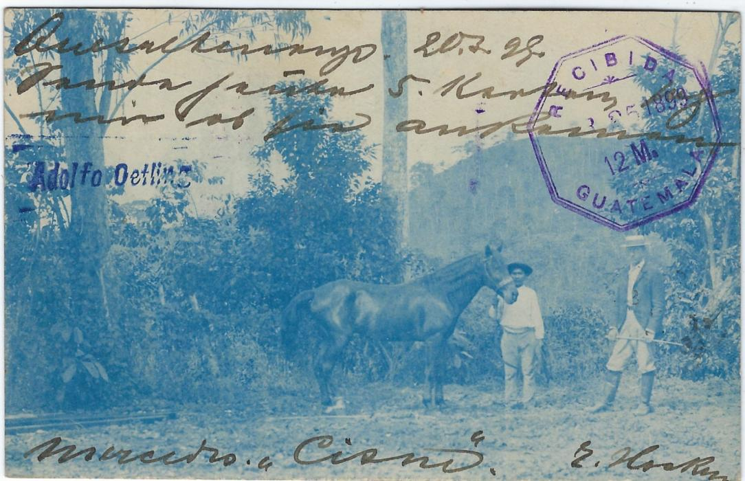 Guatemala (Picture Postal Stationery) 1899 1c. illustrated train stationery card uprated 2c.  to Bremen tied Quetzaltenango cds. Obverse has fine blue image of Westerner posing with his horse.