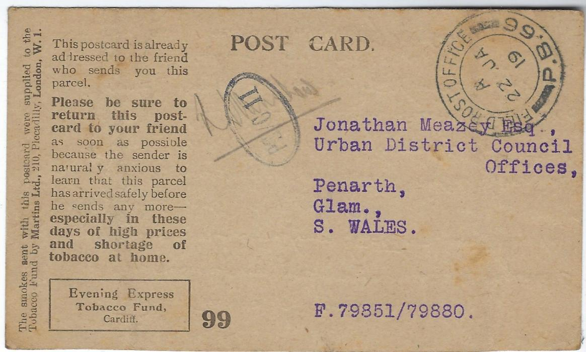 Russia (British Forces Intervention in North Russia) 1919 (22 JA) 'Evening Express Tobacco Fund Cardiff stampless reply card to Penarth with fine strike of Field Post Office P.B.66, located at Obozerskaya;fine and scarce.