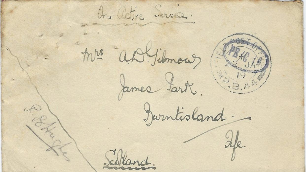 "Russia (British Forces Intervention in North Russia) 1919 (22 JA) stampless ""On Active Service"" cover to Burntisland, Fife, Scotland cancelled by Field Post Office P.B.44, then assigned to Bakharitza, overstruck with censor, envelope signed by officer/ censor in corner,  P.S. Hughes, part of Archangel Garrison. A few pin holes top left and without backflap. A scarce F.P.O."