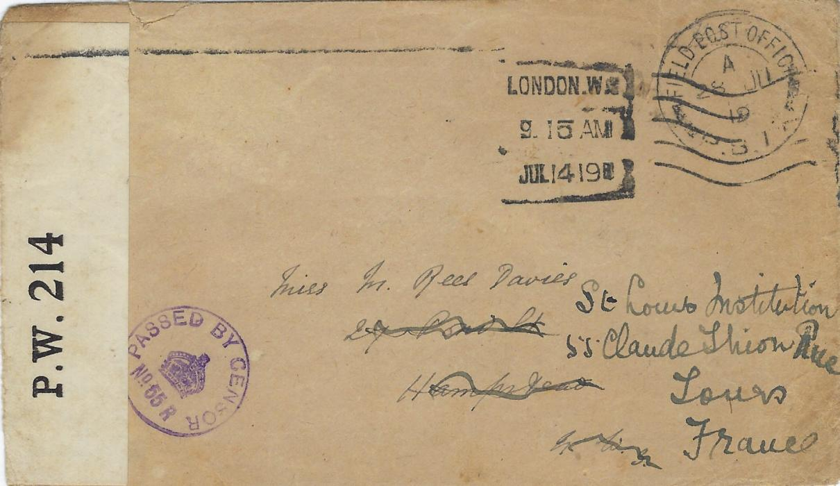 Russia (British Forces Intervention in North Russia) 1919 (28 JU) stampless cover to Hampstead, London redirected to St Louis Institution, Tours, France cancelled by Field Post Office P.B. 77, then at Emetskoe, London cancel of Jul 14 and Tours arrival backstamp of 16th. Small violet circular censor No. 65 R and OPENED BY CENSOR P.W. 214 censor tape. A rare F.P.O.