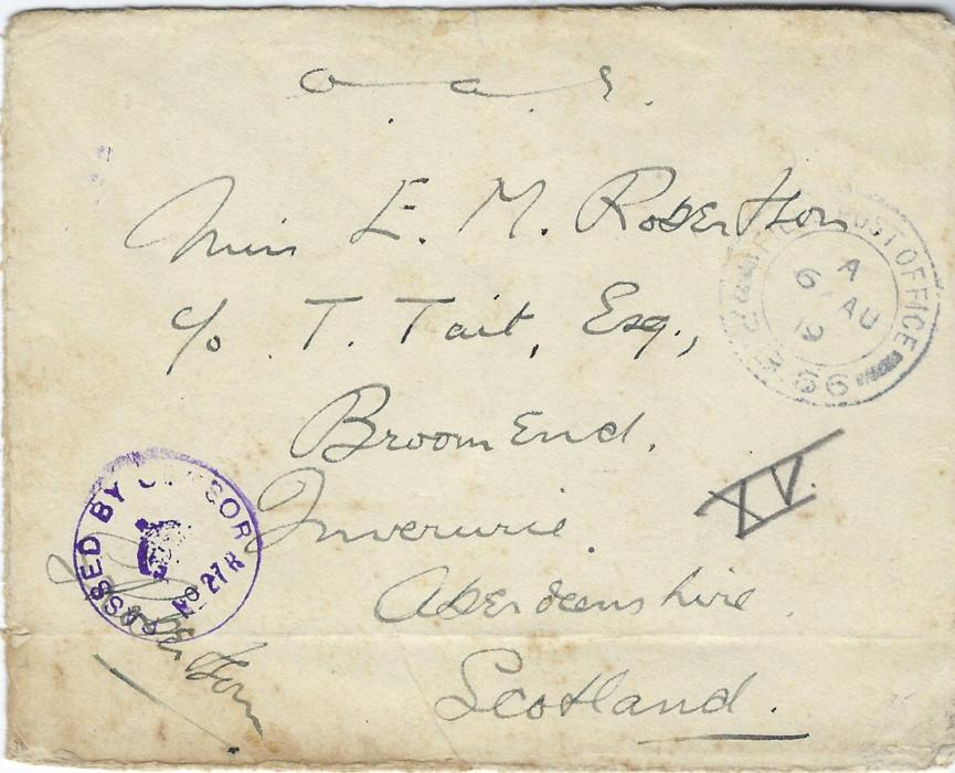 "Russia (British Forces Intervention in North Russia) 1919 (6 AU) stampless ""O.A.S."" to Inverness, Scotland cancelled Field Post Office P.B. 66, used at Obozerskaya, violet censor handstamp No. 27 R overstriking Officer/censors signature; some slight staining."