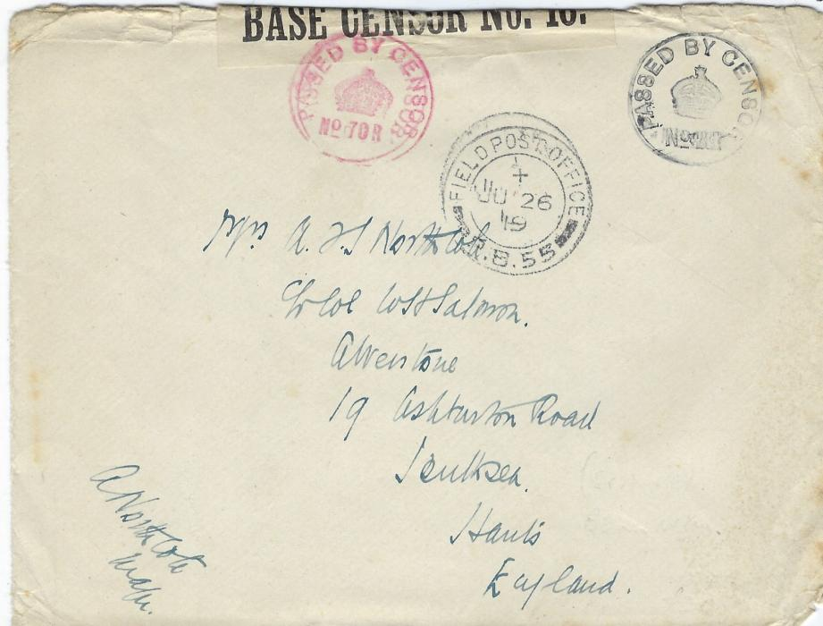 Russia (British Forces Intervention in North Russia) 1919 (JU 26) censored stampless cover to England with Field Post Office P.B.55 cds, then at Beresnik, black (No.28) and red (No. 708) censor cachets, the latter tying tape OPENED BY/BASE CENSOR NO. 16; some slight faults to edges of envelope.