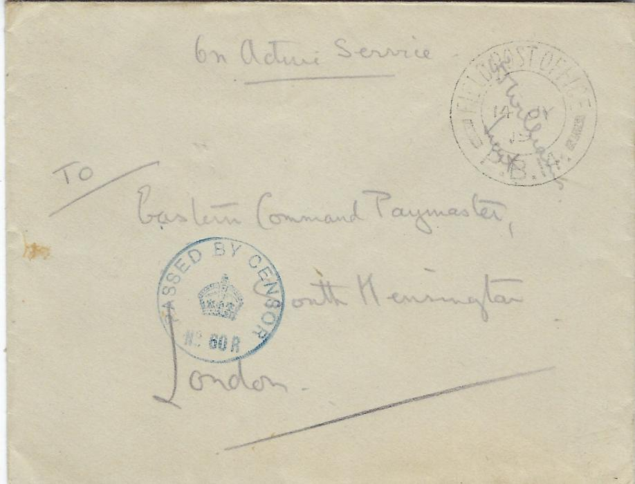 "Russia (British Forces Intervention in North Russia) 1919 (14 JY) censored stampless ""On Active Service"" envelope to London cancelled by Field Post Office P.B. 14 cds of Sadllier-Jackson's 238 Brigade in the Drvina Force, overstruck by signature of Officer,  blue Passed By Censor No. 60 R crown handstamp; good condition."