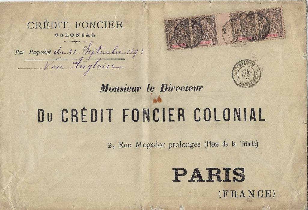 """Martinique 1893 (21 Sept) printed envelope, 230 x 158mm, to Paris franked 1892 25c. horizontal strip of four with gutter, numbered '2' tied by double ring Saint Pierre cds, the envelope is endorsed by date of ships departure and """"Voie Anglaise"""", vertical filing crease and stain at centre, no backstamps."""
