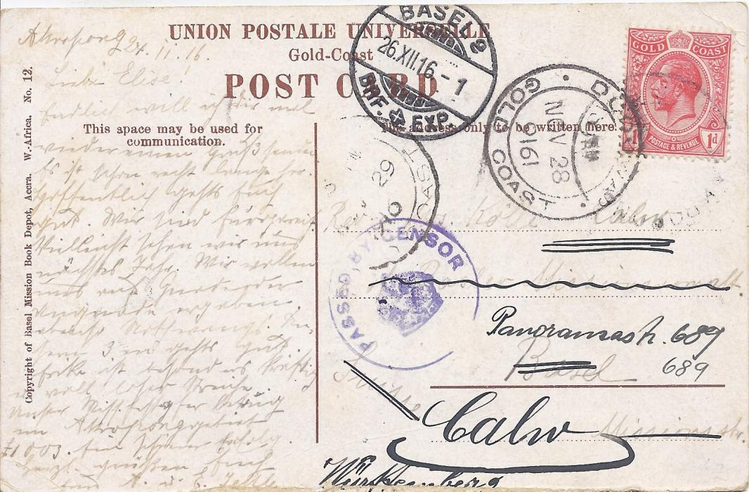 Gold Coast 1916 picture postcard of Abokobi to Switzerland franked 1d., written from Akropong with unclear despatch date stamp, Dodowa cds alongside showing inverted year slug �9161�, censor cachet at centre, Basel arrival cds.