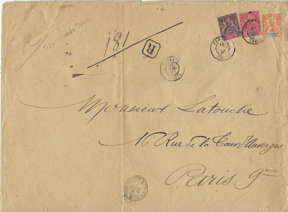 French Oceanic Settlements 1901 (18 Juil) large registered envelope, 270 x 200mm., handstamped 'Tresorie de Tahiti' to Paris franked 1892 25c., 40c. and 50c. tied Papeete cds, registration handstamp to left with manuscript number, arrival cancels front and back, reverse also with five AH red wax seals; some faults to periphery of envelope, vertical crease.